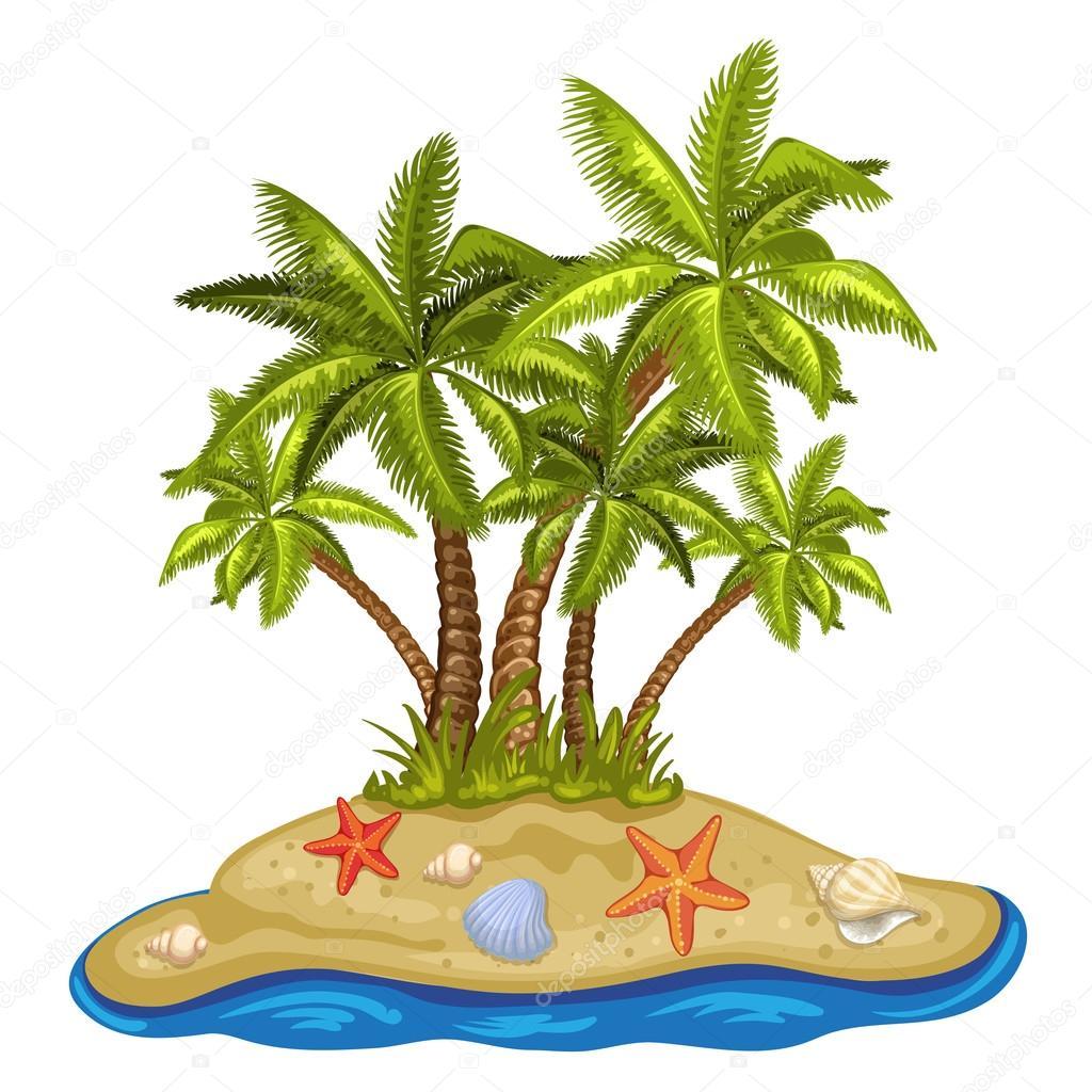 ヤシの木と熱帯の島のイラスト ストックベクター Analia26 109558186