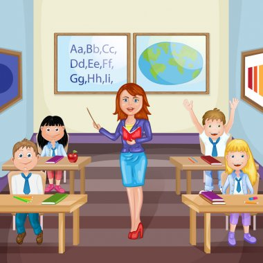 Illustration of kids studying  in classroom with teacher