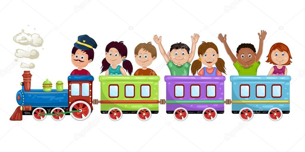Kids, boys and girls on a cartoon train.