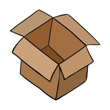 Cartoon vector illustration of open empty parcel box. Colored and black outlines. icon