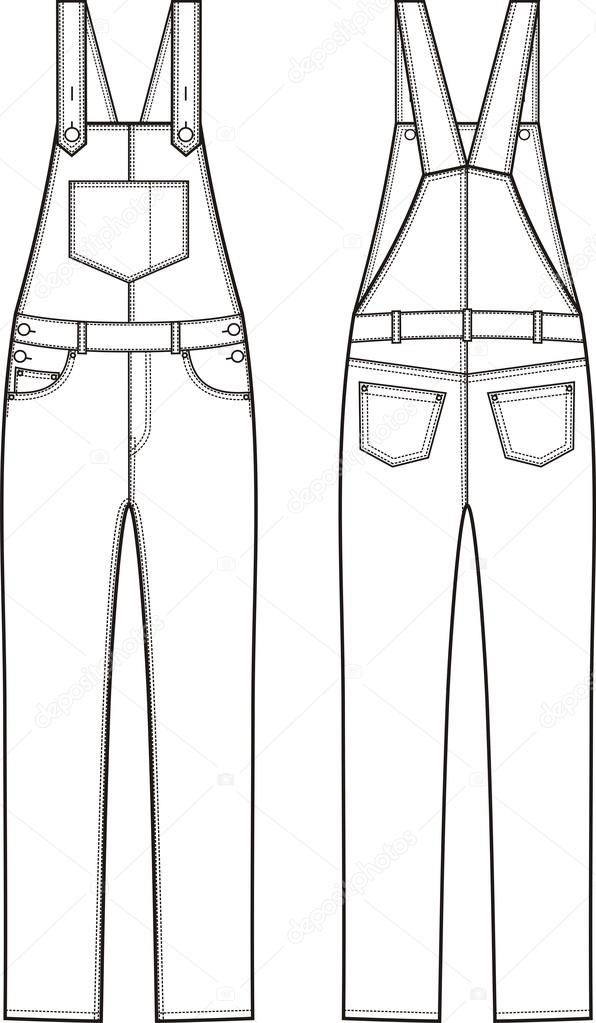 9a9e24a5253e Vector illustration of denim coverall. Front and back views — Vector by ...