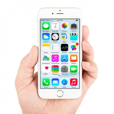 White Apple iPhone 6 displaying homescreen