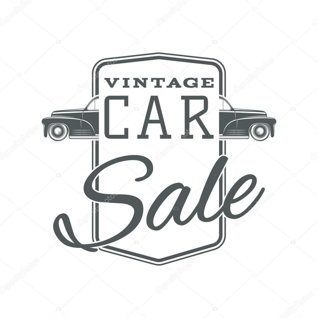 Plantilla de etiqueta de venta de coches vintage, clásico — Archivo ...