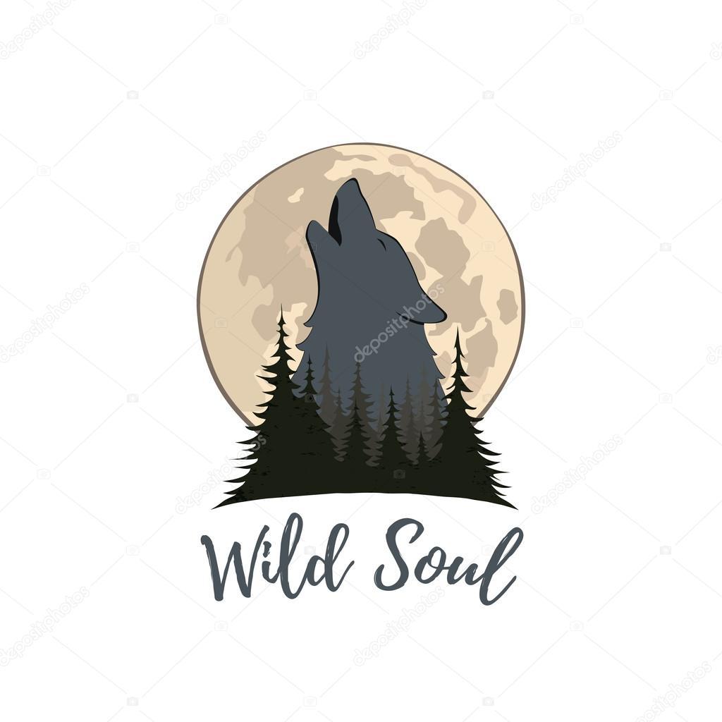 Logo Lobo Aullando Lobo Aullando A La Luna En El Bosque Vector