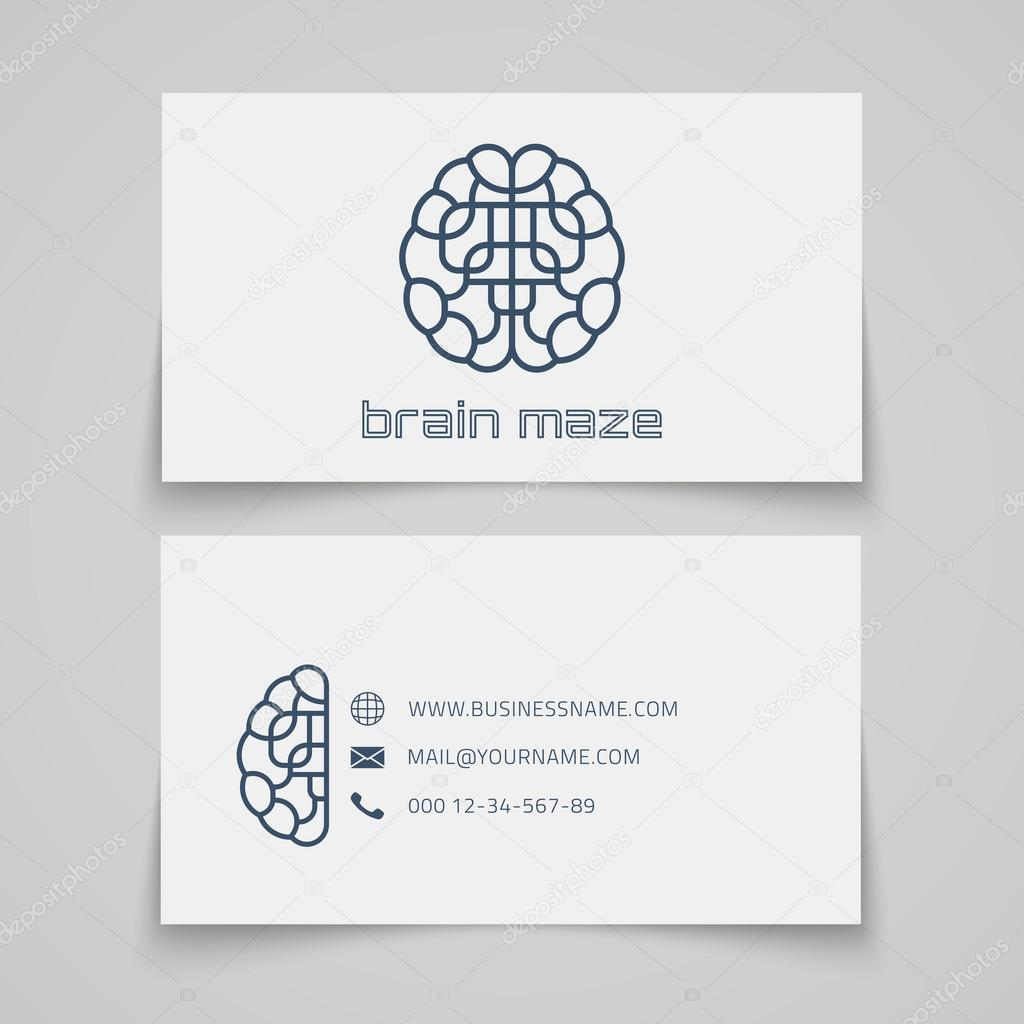 Plantilla de tarjeta de visita. Logo de laberinto cerebral — Vector ...