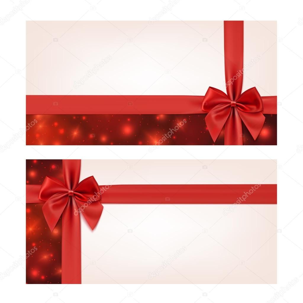 Gift voucher template with red ribbon and a bow Vector – Present Voucher Template