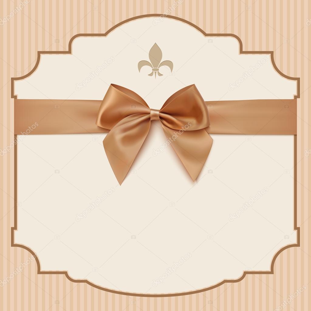 Bowwedding Invitation Card Ntage Greeting Card Template With