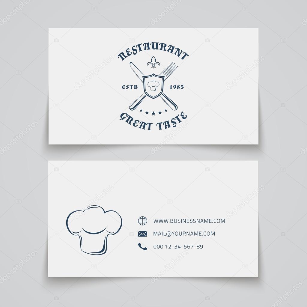 Restaurant business card template stock vector aleksandrsb business card template with logo for restaurant cafe bar or fast food vector illustration vector by aleksandrsb reheart Gallery