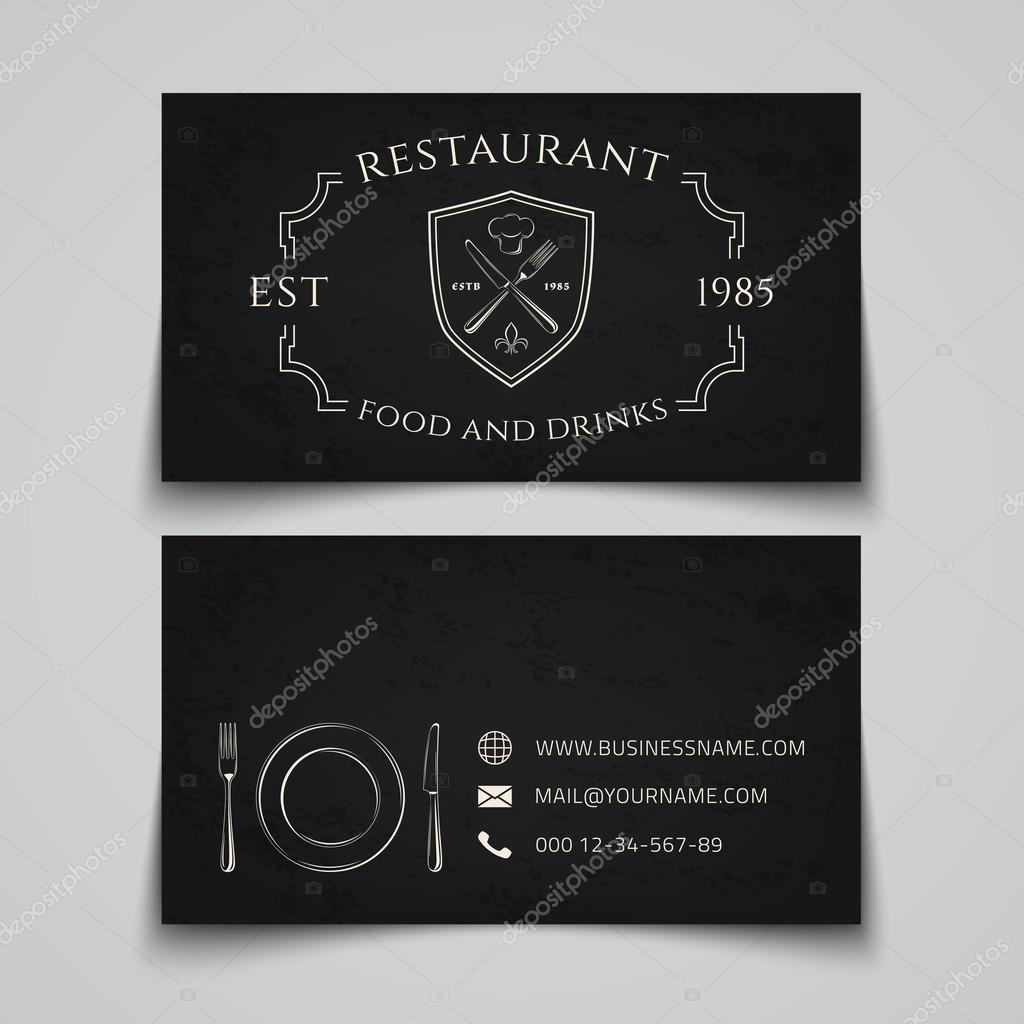 Modele De Carte Visite Avec Logo Pour Restaurant Cafe Bar Ou Restauration Rapide Illustration Vectorielle Vecteur Par