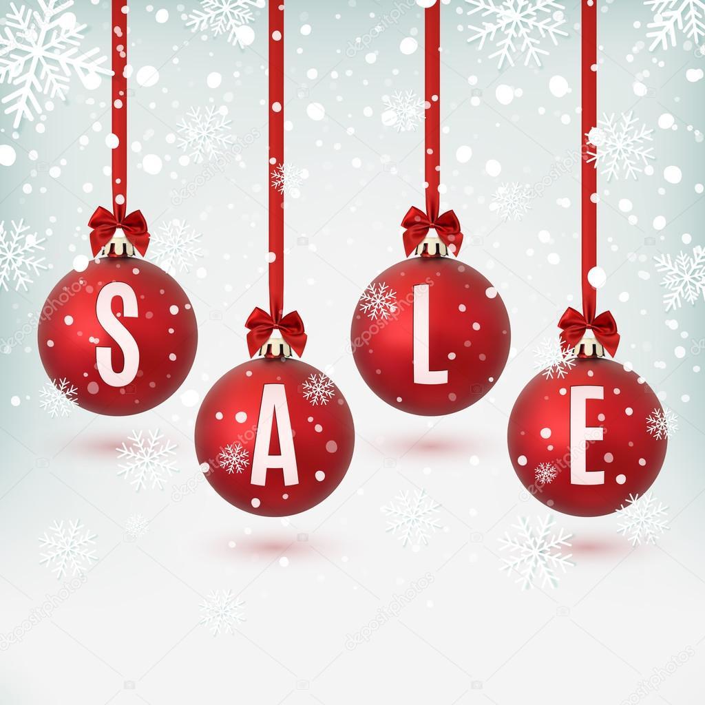 Cuatro bolas de Navidad rojas con cintas y lazos Vector de stock