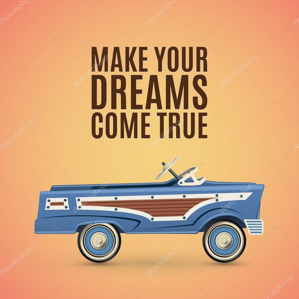 Plantilla poster vintage con coche de pedales de juguete — Vector de ...