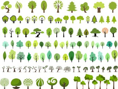 Many style and color vector trees stock vector