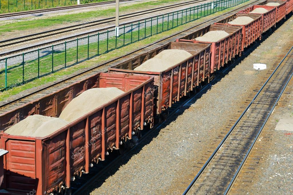 Rail freight wagons with sand