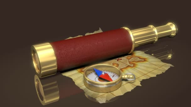 Compass, spyglass and old map