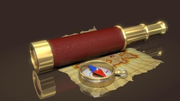 kompas, dalekohled a starých map