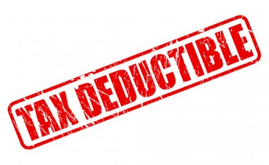 Tax deductible red stamp text