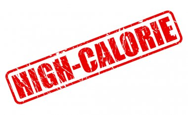 High calorie red stamp text