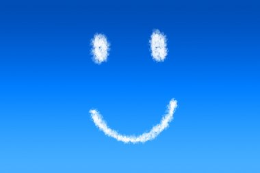 Smiley face shaped cloud in a bright blue sky