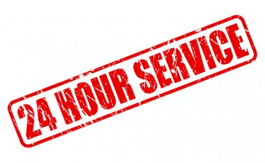 24 HOUR SERVICE red stamp text