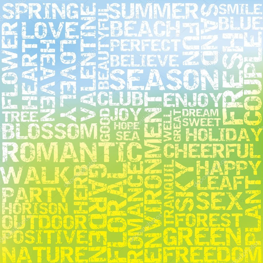 Lots of positive words with light spring background