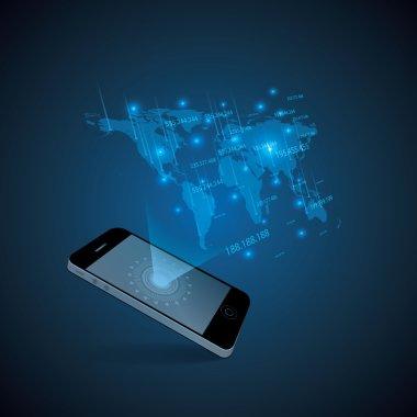 Hologram style futuristic design blue background