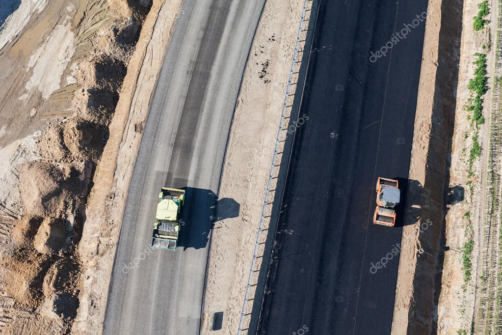 Aerial view of cars on highway