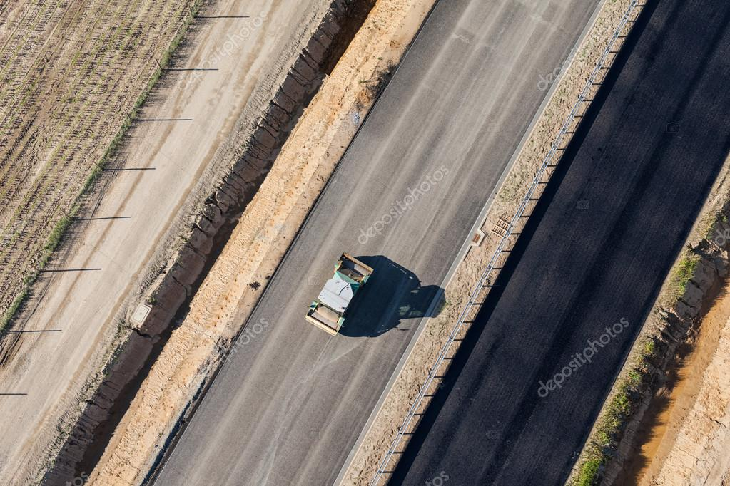 Aerial view of car on highway