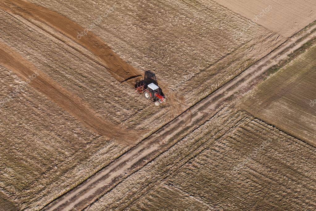 Combine on harvest fields