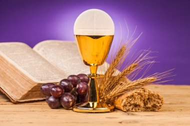 Holy communion bread and grapes