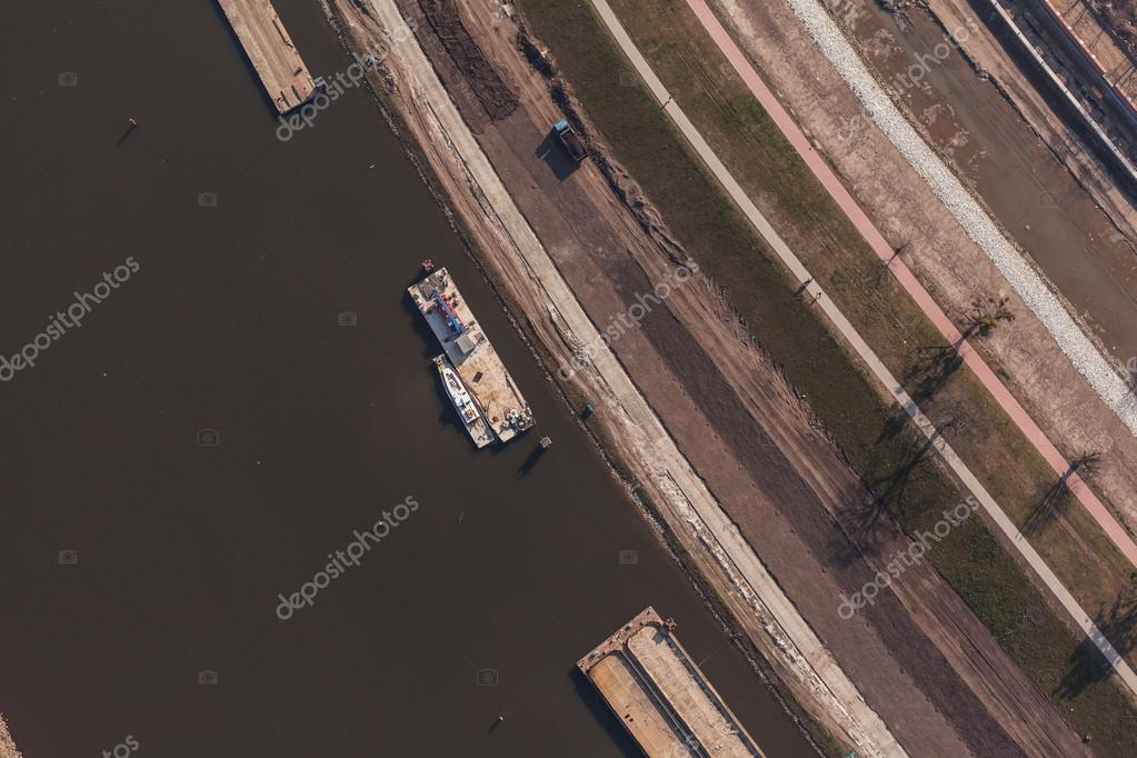 Aerial view of a river barge in Poland