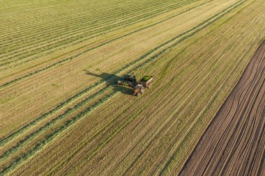 harvest fields with combine and tractor