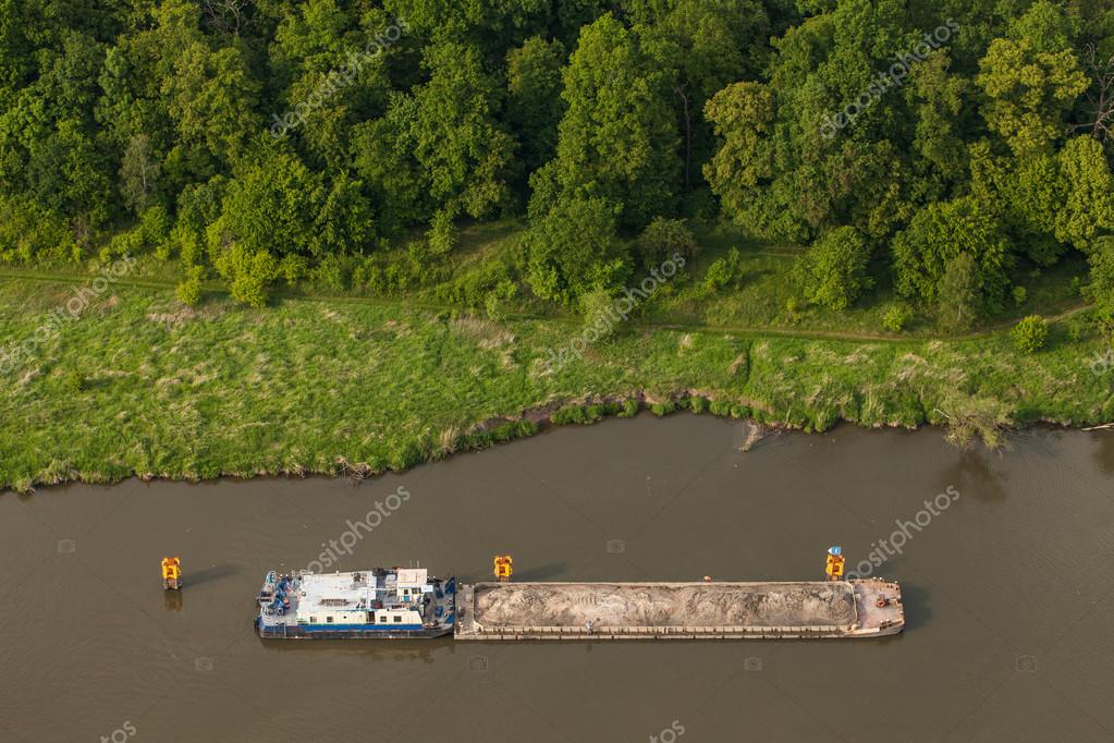 aerial view of a river barge