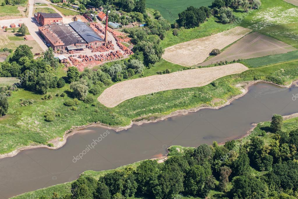 aerial view of the  the  Odra river near Brzeg Dolny town