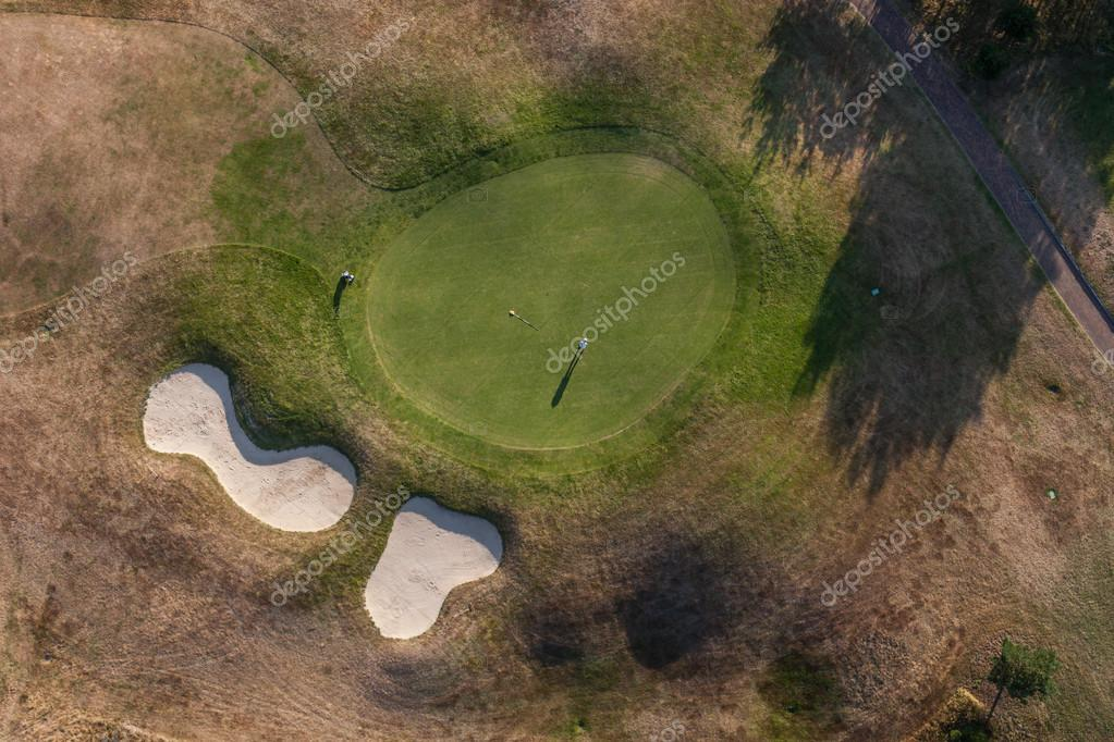 Aerial view of golf field
