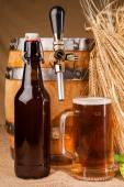 Fotografie Sklo z lehkého piva a hroty ječmene