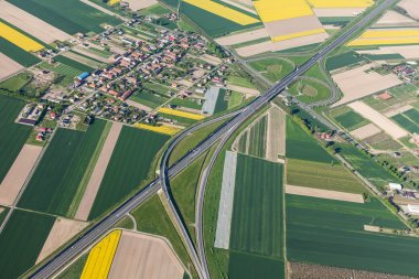 Aerial view of highway in Poland stock vector