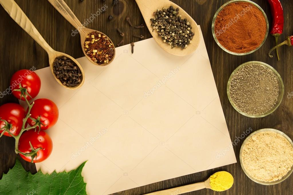 Sheet old vintage paper with spices on wooden background healthy sheet old vintage paper with spices on wooden background healthy vegetarian food recipe forumfinder Gallery