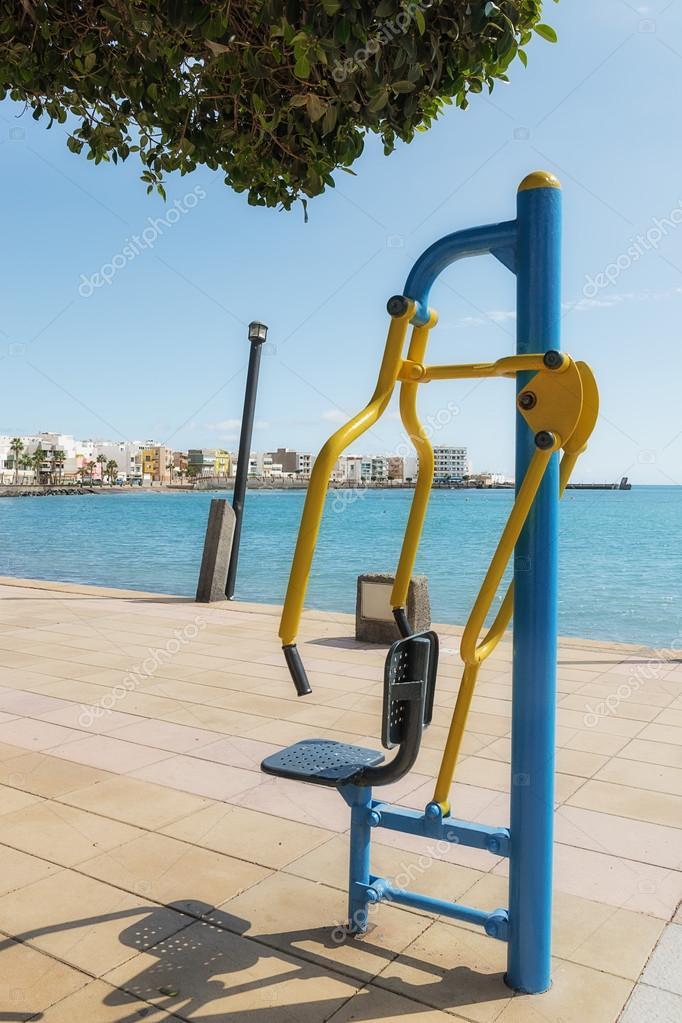 gymnastics apparatus placed in a promenade of Gran Canaria, Spain