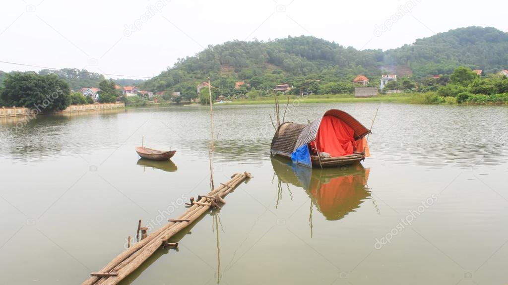 Фотообои boat on the river
