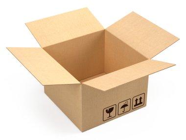 Opened cardboard box package