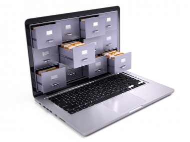 File Cabinets inside screen of laptop