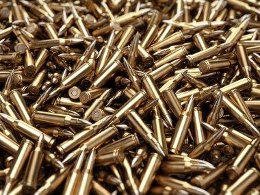 Bullets pile background - 3d render stock vector