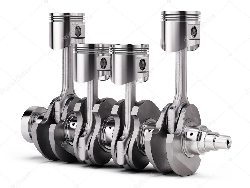 v4 engine pistons and crankshaft isolated on white background 3d render stock photo. Black Bedroom Furniture Sets. Home Design Ideas