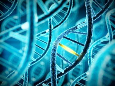 DNA molecule spiral with unique connection. 3d illustration