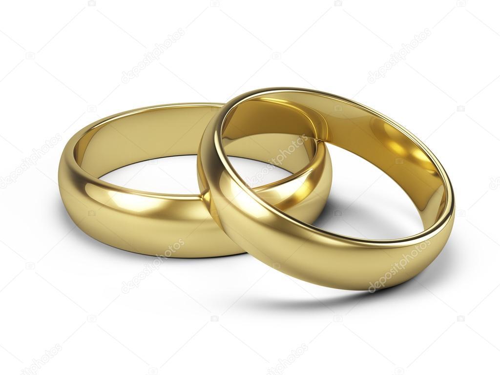 Paar Goldene Hochzeit Ringe Isoliert Auf Weiss 3d Illustration