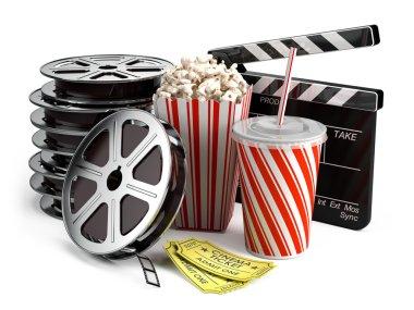 Clapper board, film reels, popcorn