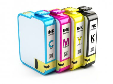 CMYK cartridges  on white background