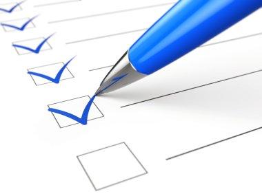 checklist, paper and pen