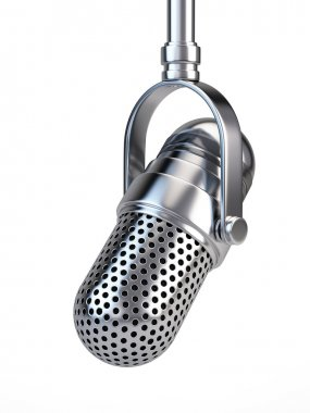 Retro microphone on white