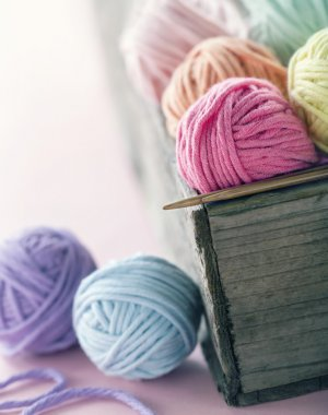 Pastel color yarn balls